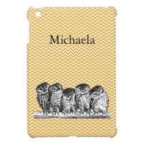 Vintage Wise Owls on Yellow Chevron, Customizable iPad Mini Case