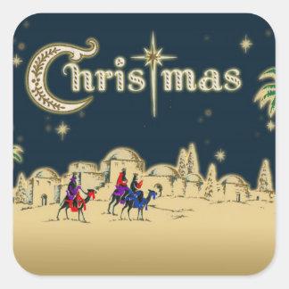 Vintage Wisemen/navidad religioso del desierto Pegatina Cuadrada