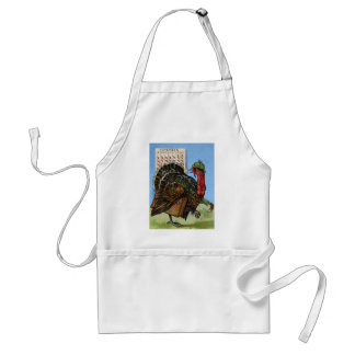 Vintage Wish I Could Fly Thanksgiving Turkey Adult Apron