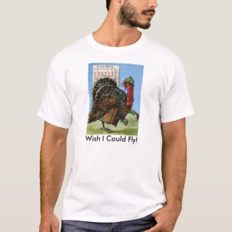 Vintage Wish I Could Fly Thanksgiving Turkey T-Shirt