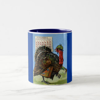 Vintage Wish I Could Fly Thanksgiving Turkey Two-Tone Coffee Mug
