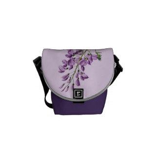 Vintage Wisteria Flower Graphic Messenger Bag