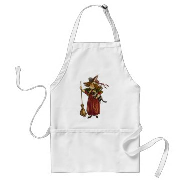 Halloween Themed Vintage Witch and Black Cat Adult Apron