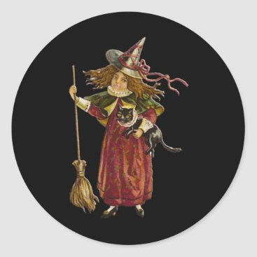 Halloween Themed Vintage Witch and Black Cat Classic Round Sticker