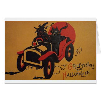 Vintage Witch And Black Cat In Car Halloween Card