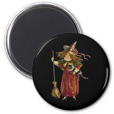 Halloween Themed Vintage Witch and Black Cat Magnet