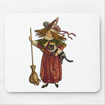 Halloween Themed Vintage Witch and Black Cat Mouse Pad