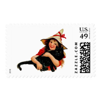Vintage Witch and Cat Postage