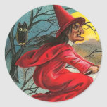 Vintage Witch and Cat Sticker