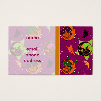 Vintage Witch and Crescent Moon Pattern Business Card