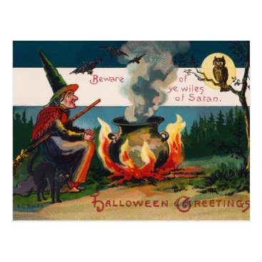 Halloween Themed Vintage witch and owl Halloween postcard