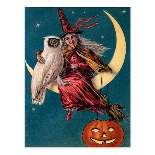Vintage Witch and Owl Happy Halloween Greeting Postcard