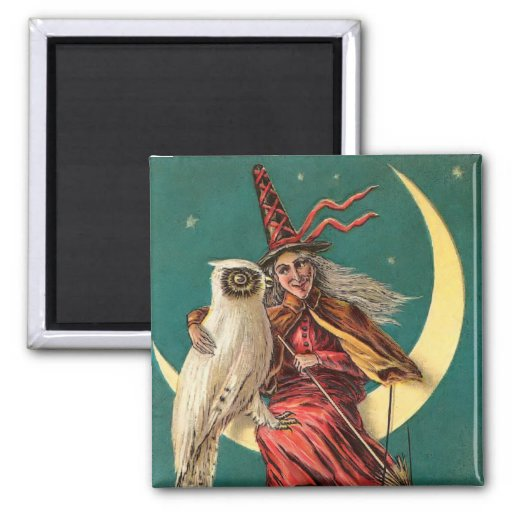 Vintage Witch and Owl Square Magnet