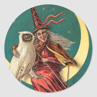 Vintage Witch and Owl Sticker