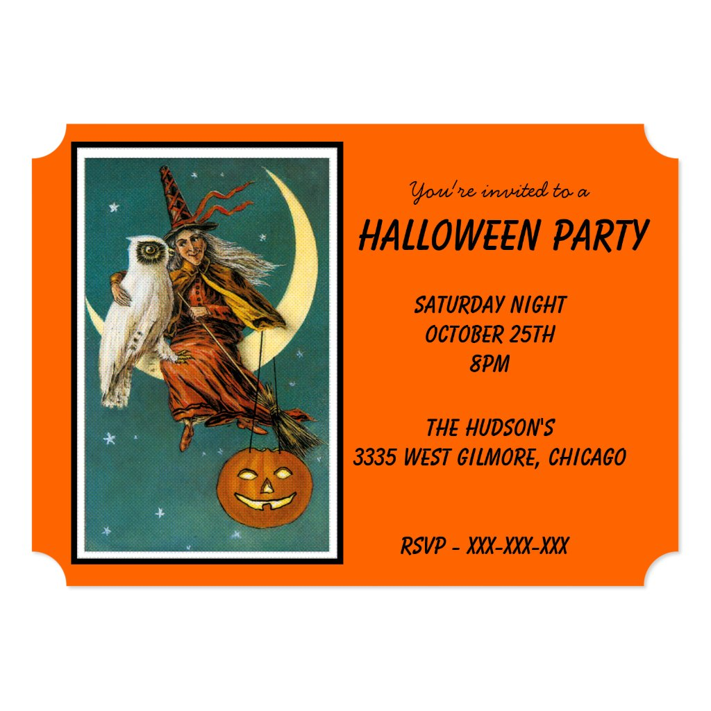 Vintage Witch and White Owl Halloween Invitation