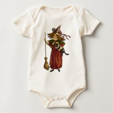 Halloween Themed Vintage Witch Baby Bodysuit