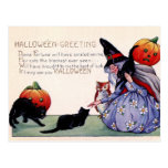 Vintage Witch Black Cat Owl Halloween Postcard