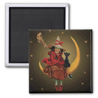 Vintage Witch & Black Cat Sitting on the moon 2 Inch Square Magnet