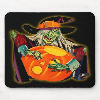 Vintage Witch Carving a Jack O'Lantern Mousepad