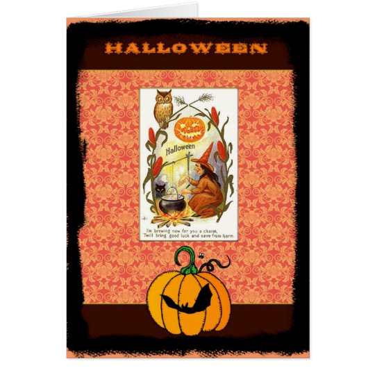Vintage witch Halloween blank note card