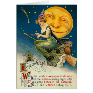 Vintage Witch Halloween cards, Flying on her Broom Greeting Card