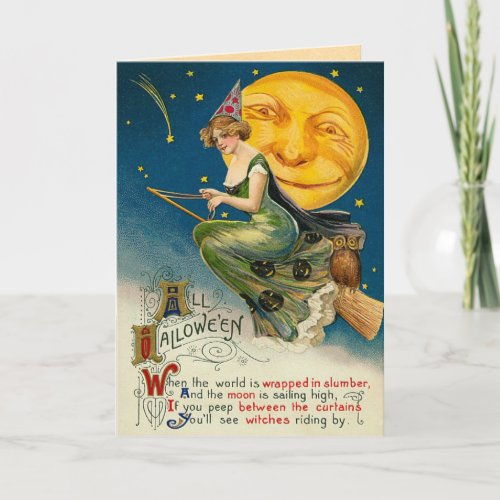 Vintage Witch Halloween cards Flying on her Broom Card