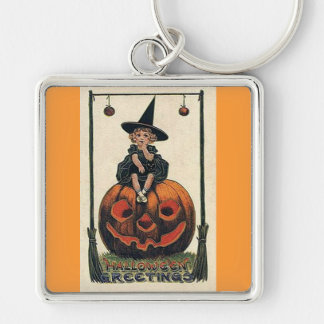 Vintage Witch Halloween Designs Keychain