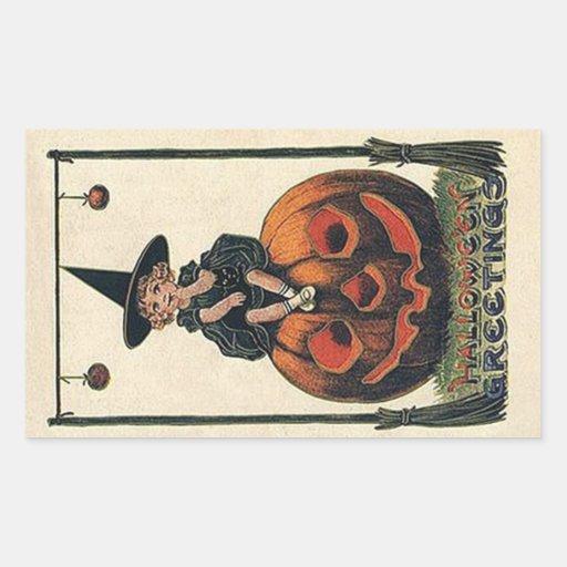 Vintage Witch Halloween Designs Rectangular Sticker