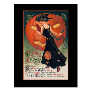 Vintage Witch Halloween Greeting w/Bloody Text Postcard