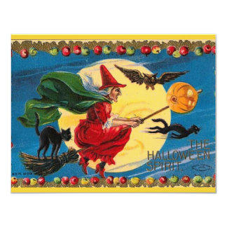 Vintage Witch Halloween Invitation