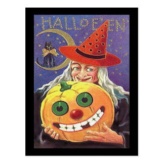 Vintage Witch Halloween Postcard