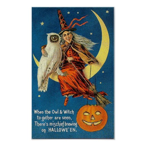 Vintage Witch Halloween Poster
