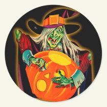 Vintage Witch Halloween Sticker