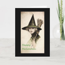 Vintage Witch Happy Halloween Greeting Card