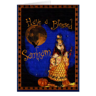 Vintage Witch Happy Samhain Halloween Card