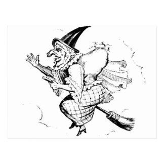 Vintage Witch illustration Postcard