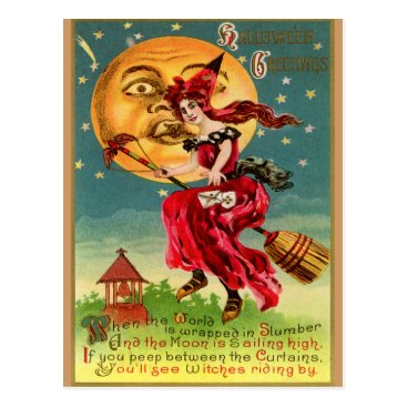Halloween Themed Vintage Witch in a Red Dress or is that Devil Postcard