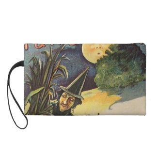 Vintage Witch In Moonlight Wristlet Purse