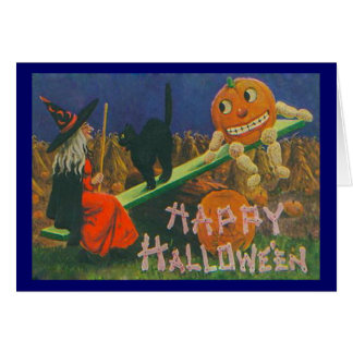 Vintage Witch & Jack o' Lanterns Play Time Card