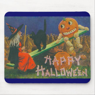 Vintage Witch & Jack o' Lanterns Play Time Mouse Pad