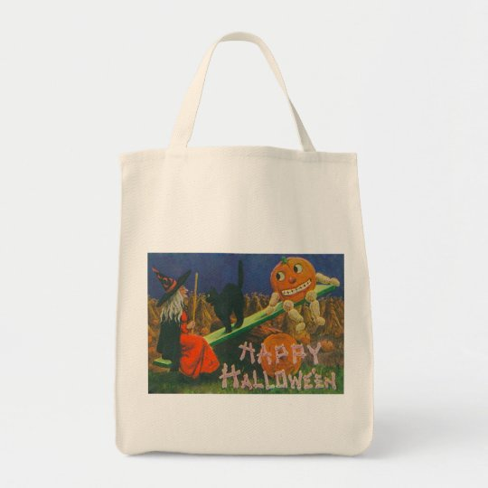 Vintage Witch & Jack o' Lanterns Play Time Tote Bag