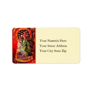 Vintage Witch Making Brew Halloween Address Label