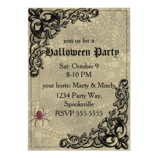 "Vintage Witch on Pumpkin Collage 5"" X 7"" Invitation Card"