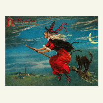 Vintage Witch Postcard, Halloween, Black Cat Postcard