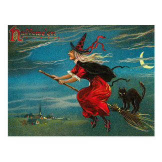 Vintage Witch Postcard, Halloween, Black Cat Postcard