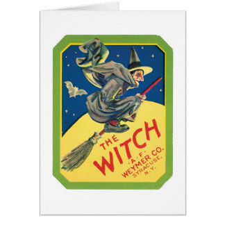 Vintage Witch Product Label Art Card