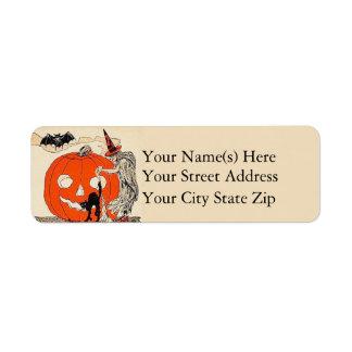 Vintage Witch Pumpkin Black Cat Bat Halloween Label