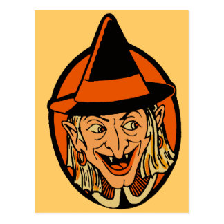 Vintage Witch s Face Post Card