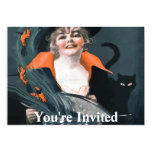 """Vintage Witch Summoning Food For Her Cat 5"""" X 7"""" Invitation Card"""