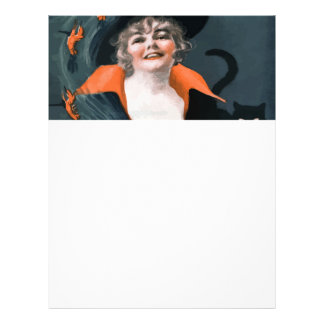 Vintage Witch Summoning Food For Her Cat Letterhead